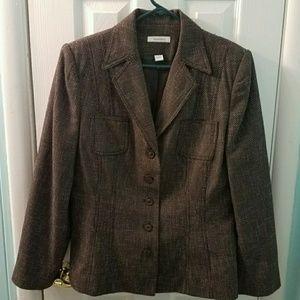 Dressbarn brown & white tweed blazer jacket